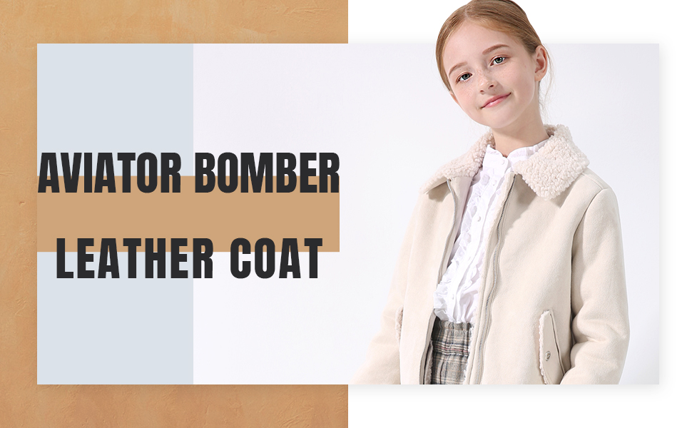 maoo garden Girls Faux Leather Aviator Bomber Jackets Thick Heavy Winter Sherpa Motorcycle Coats