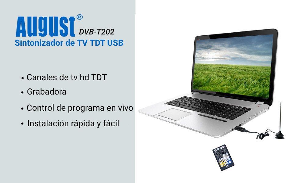 August - Sintonizador de TV USB Freeview DVB-T202 - Ver TV en su PC - No necesita conexión a Internet - Compatible con Windows 10/8/7/Vista/XP: Amazon.es: Informática