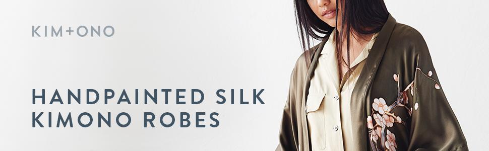 KIM+ONO Women's Handpainted Silk Kimono Robes - Cherry Blossom Bronze