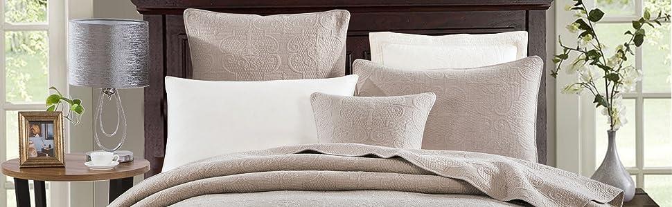 thin lightweight beige sandy tan floral garden pattern quilted coverlet bedspread set textured gift