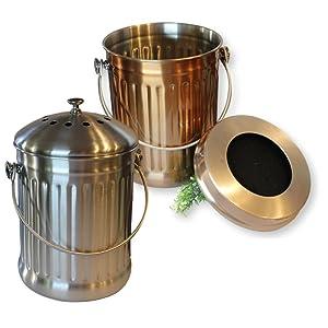 compost pail bucket bin copper stainless steel