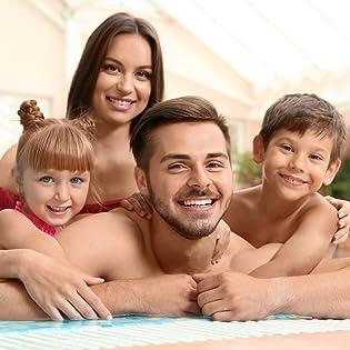 happy family on pool