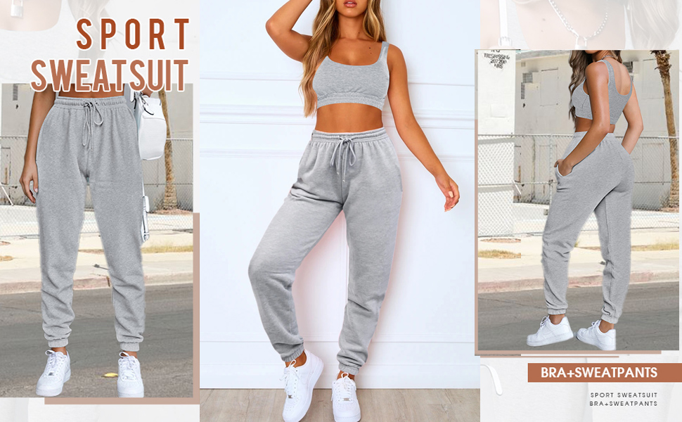 bra and sweatpants set