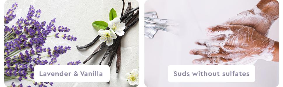 Puracy Natural Liquid Hand Soap - Lavender & Vanilla and Rich, luxurious foam