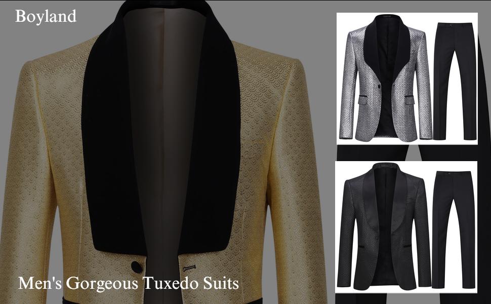 boyland golden silver black tuxedo suit