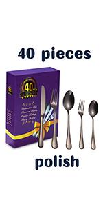 40-Piee black flatware set