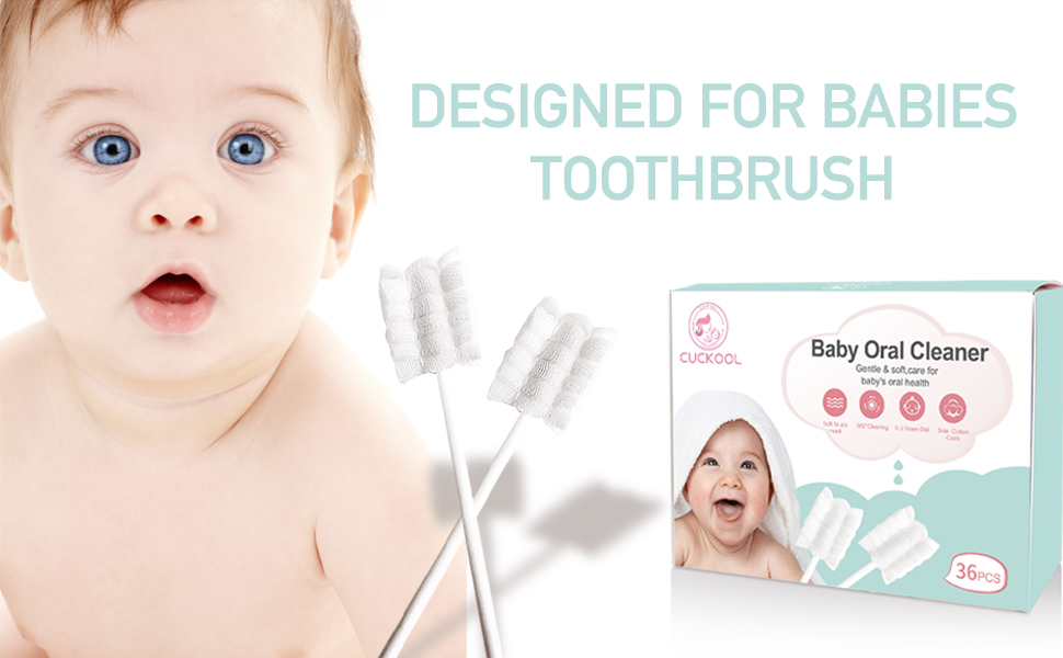 baby toothbrush - Baby Toothbrush, Infant Toothbrush Clean Baby Gums Disposable Tongue Cleaner Gauze Toothbrush Infant Oral Cleaning Stick Dental Care For 0-36 Month Baby
