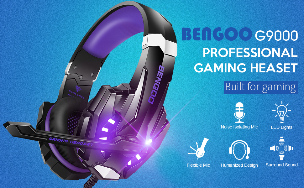 headset  BENGOO G9000 Stereo Gaming Headset for PS4, PC, Xbox One Controller, Noise Cancelling Over Ear Headphones with Mic, LED Light, Bass Surround, Soft Memory Earmuffs (Purple) f4069a8a db57 4a17 b83c 35ac4003bcda