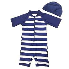 Aschlop Baby Boy S/S Sunsuit Zipper Garage Swimsuit Blue Stripe