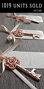 White tags with rose gold foiling and rose gold key bottle opener wedding favor