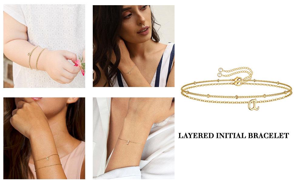 Dainty Layered Initial Bracelet