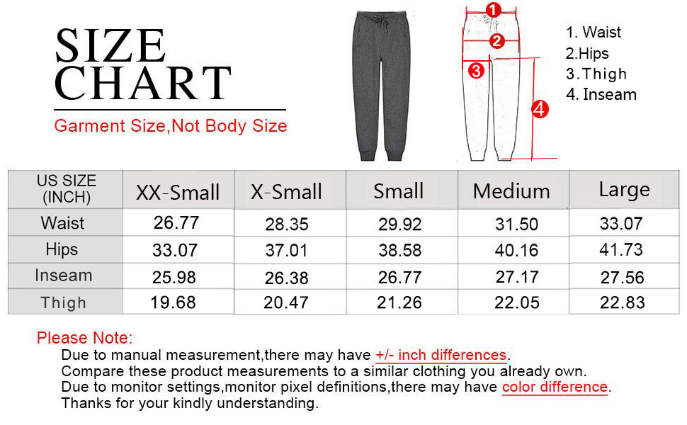 Size Chart for White Jogger Pants Active Running Athletic Sweatpants