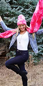 tie dye hat and scarf
