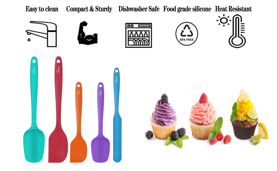 hotec 5 piece colorful spatula set heat resistant non stick kitchen utensils