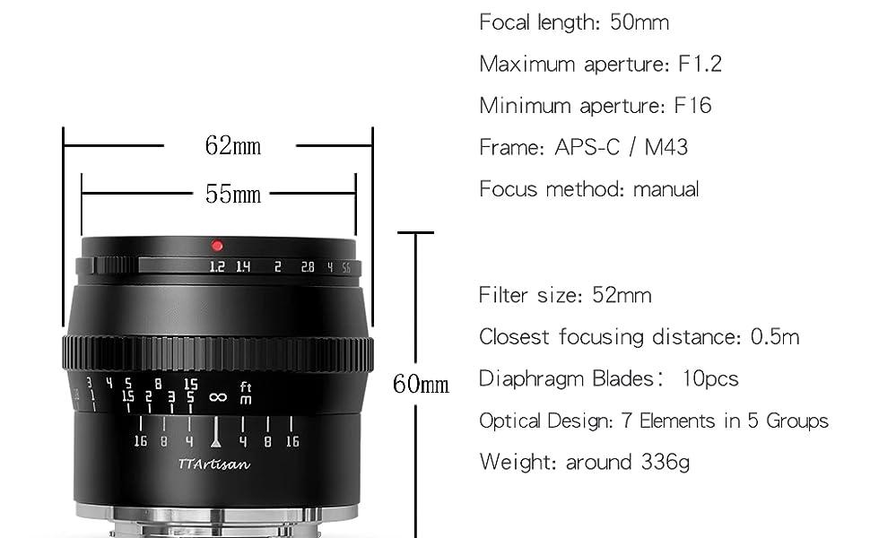 TTartisan 50mm camera lens