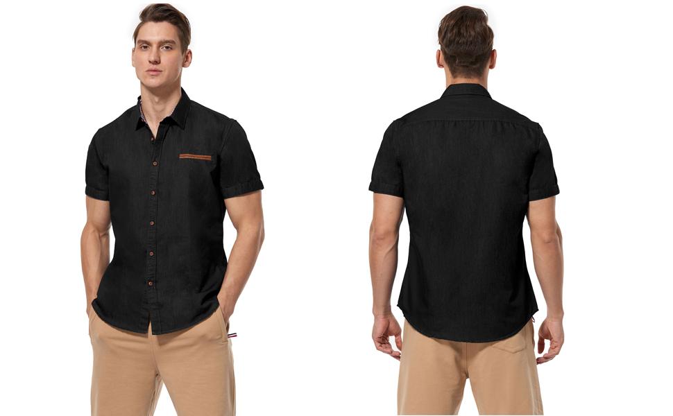 short sleeve denim shirts for men