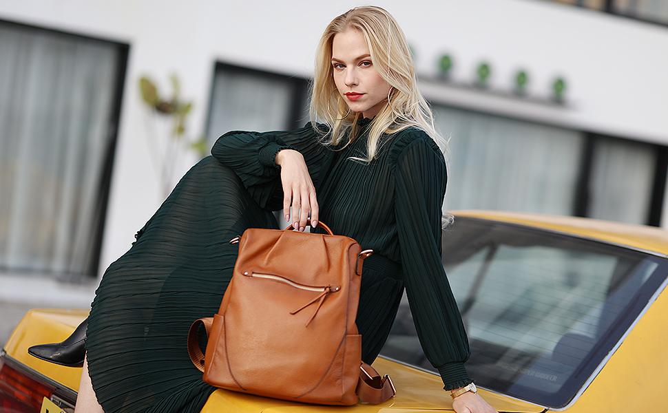 Kattee Backpack Purse Leather Anti-theft Rucksack/Shoulder Bag Travel Bag for Women Large Daypack