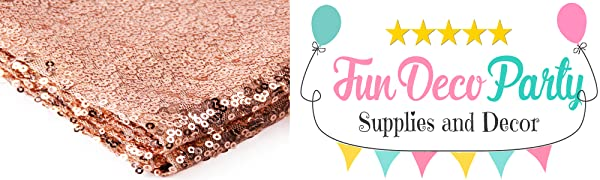 FunDeco Party Rose Gold Table Runner and Confetti Decorations Wedding Bridal