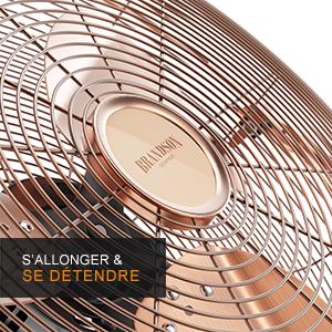 302582  Ventilateur de sol machine à vent  retro cuivre  35 CM