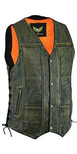 Leatherick Gilet in pelle vintage da donna senza maniche in vera pelle di bufalo marrone invecchiato gilet // giacca, 12 - L
