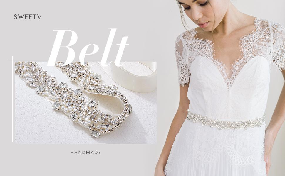SWEETV Bridal Wedding Bombing free shipping Belt Sash Crystal ...