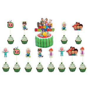 Cupcake Toppers POMNUG Cocomelon Birthday Party Supplies Cocomelon Party Decoration Kit with Happy Birthday Banner Large Cake Topper Ribbon for Kids Boys Girls Latex Balloons