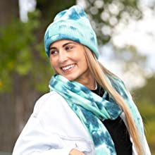 tie dye hat and scarf set