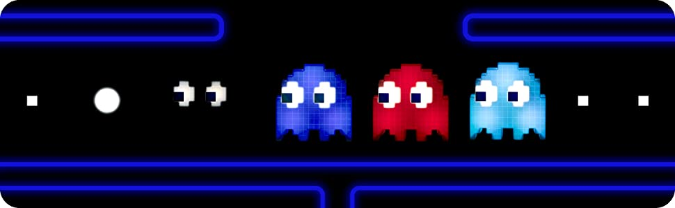 line of pac-man lights displaying different colors