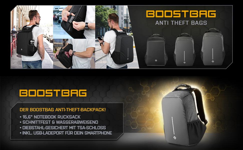 BoostBag XL Anti Theft Backpack Boostboxx Anti Diebstahl Rucksack mit F/ächern f/ür Reisepass Handy usw mit TSA Schloss und USB 17 Laptop//Notebook Tablet Kreditkarte mit RFID Schutz Ipad