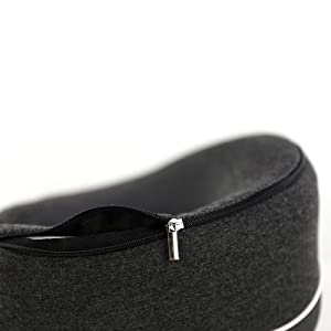 Neck pillow showing zippered cover