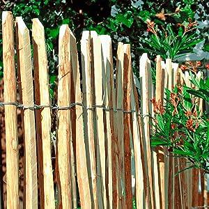 HORI/® Staketenzaun Komplettset aus Haselnuss I Lattenabstand 7-8 cm I wahlweise mit Gartentor und Pfosten I Zaunl/änge 15 m I H/öhe 90 cm