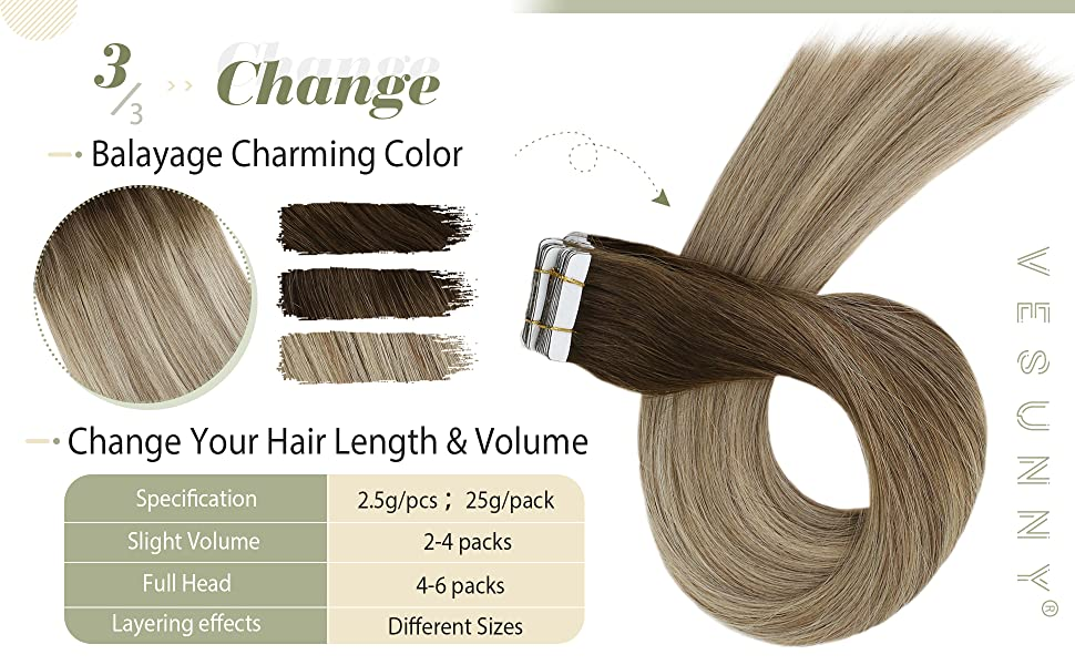 Seamless Skin Weft Tape in Hair Extensions Balayage Brown