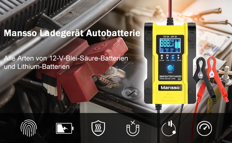 Mansso Autobatterie Ladegeräte 12v 24v Kfz Ladegerät 6a Vollautomatisches Intelligent Batterieladegerät Für Auto Motorrad Kfz Lkw Pkw Boot Roller Und Wohnwagen Auto