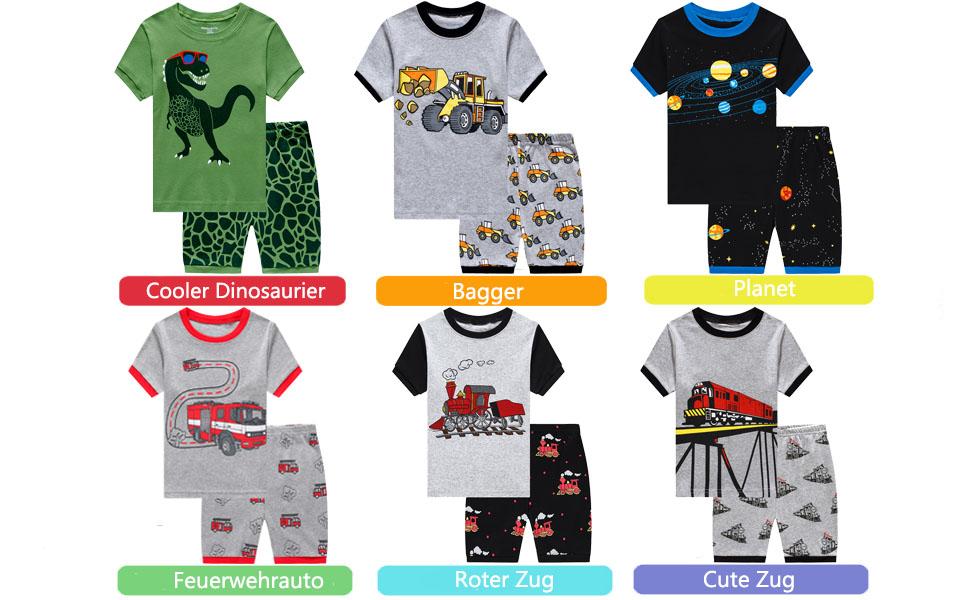 Popshion Jungen Schlafanzug Kurzarm Kinder Junge Raumfahrt Auto Bagger Dinosaurier Kleinkind Pjs Zweiteiliger Schlafanzug 98 104 110 116 122 124