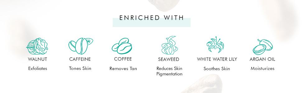 coffee face wash coffee white water lily seaweed coffee face scrub coffee walnut argan oil vitamin e