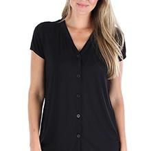 PajamaMania Stretchy Knit Short Sleeve V-Neck Top and Capri Pant Set