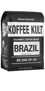 Koffee Kult Brazil Artisan Whole Bean Coffee 100% Arabica Beans