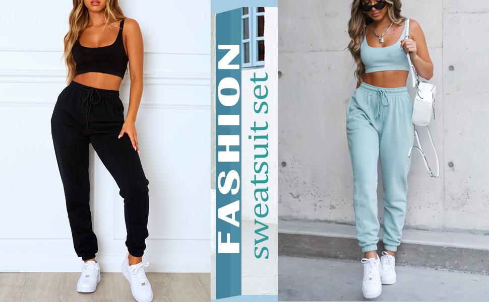 Sweatsuist Casual 2 Piece Outfit Long Sleeve Sweatpants Set