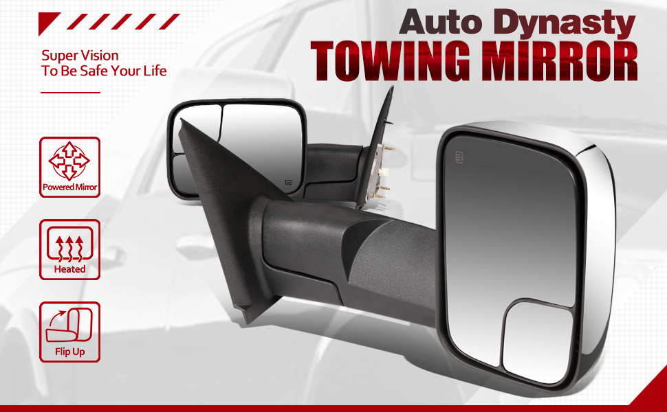 Flip Up Towing Mirror Replacement DNA Motoring TWM-012-T111-CH Pair Chrome Cover Power Heated