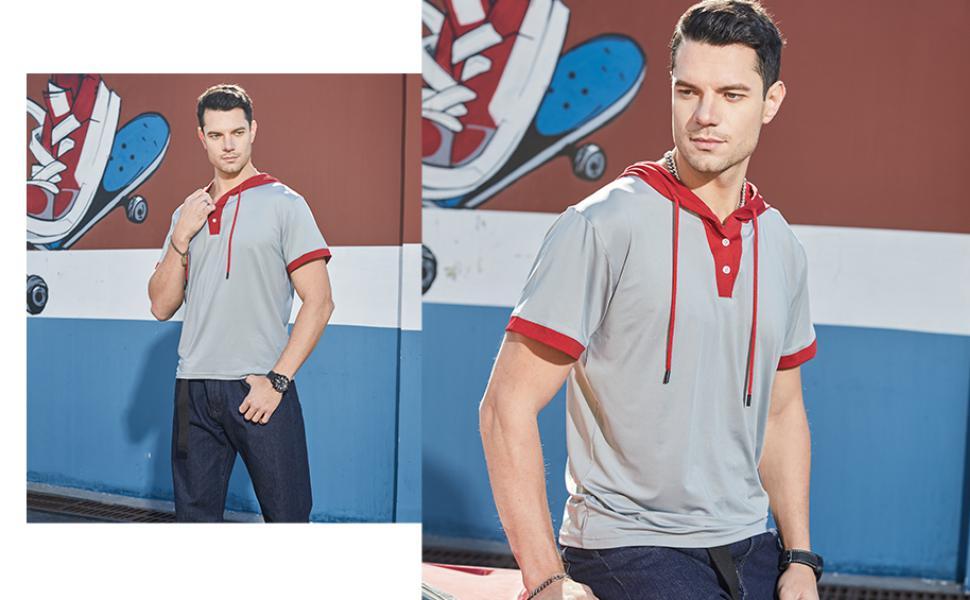 Men's Short Sleeve Fashion Athletic Hoodies Sport Shirts Hip Hop Pullover