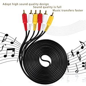 3 RCA Cable Audio Video Composite Male to Male