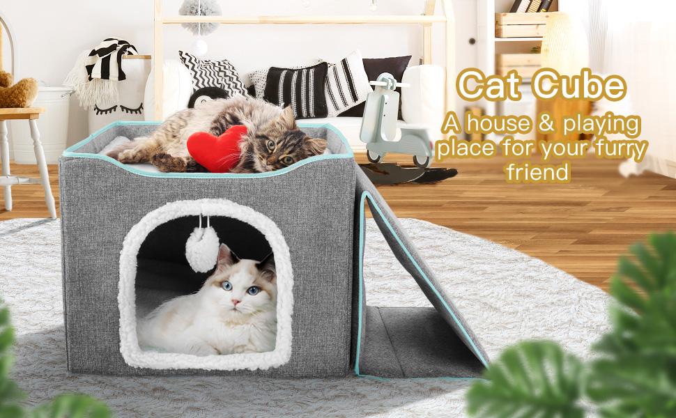 2-in-1 cat cave bed