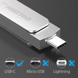64GB USB 3.1Type C Memory Stick, 2 in 1 OTG Dual Flash Drive, Metal Type C Pen Drive for MacBook