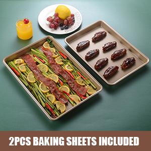 2pcs baking sheet nonstick set cookie baking sheet baking tray small jelly roll pan bakeware pan
