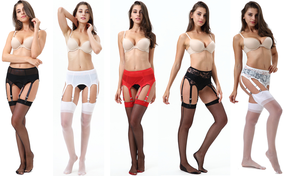 E-Laurels Mesh Garter Belt/Sexy Lace Suspender Belt with Six Straps Metal Clip for Women's Stockings