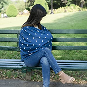 mom breastfeeding outside outdoors with carseat car seat nursing cover navy llama alpaca print