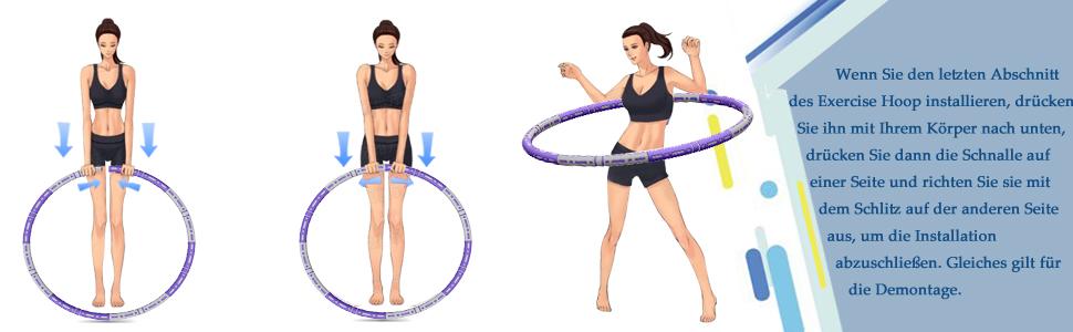 Fitness Erwachsene Reifen Hoop, Stabiler Edelstahlkern mit Premium Schaumstoff