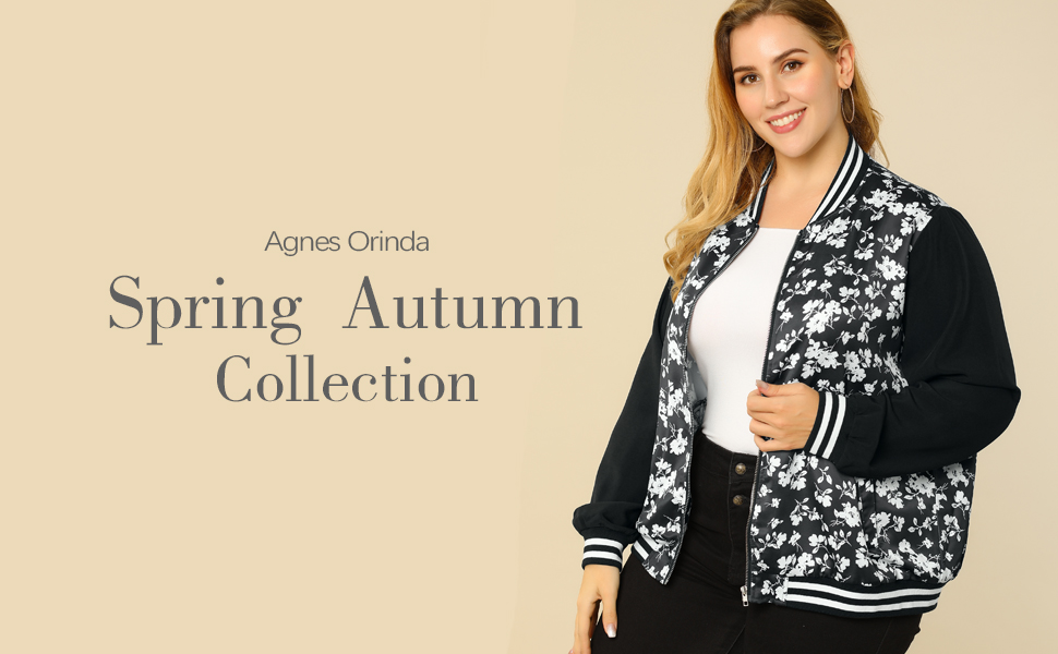 Agnes Orinda Women's Plus Size Jackets Lightweight Floral Bomber Jacket