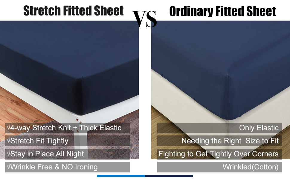 navy blue stretch fitted sheet vs ordinary fitted sheet