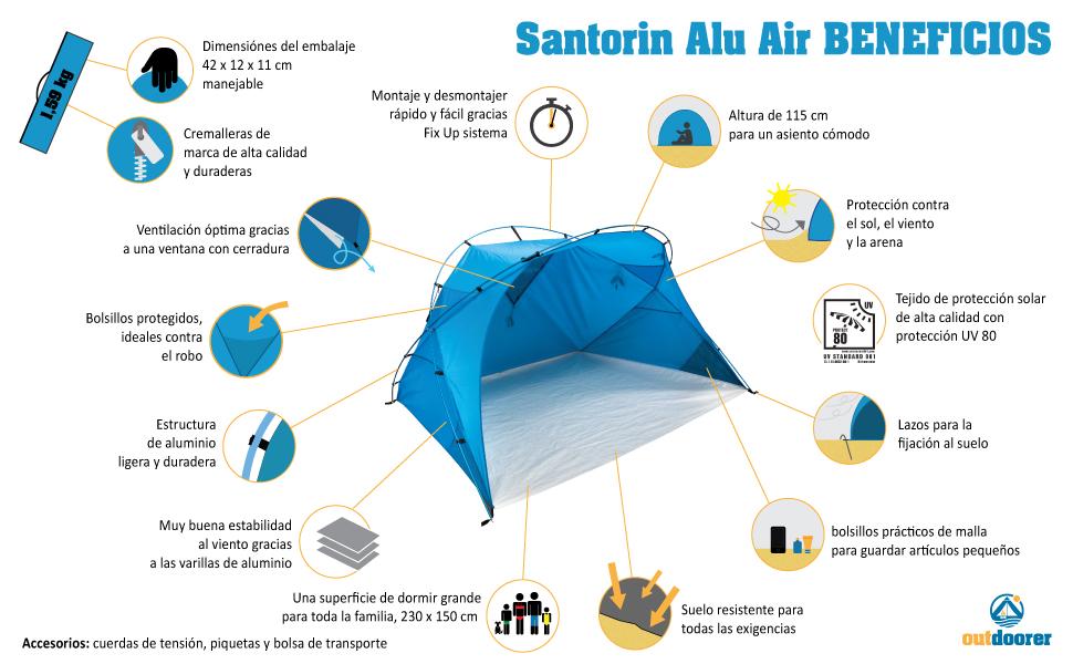 protecci/ón contra el Sol UV 80 Grande outdoorer Carpa de Playa XXL Santorin ALU Air Ligero Gracias a Las Barras de Aluminio Azul Embalaje peque/ño para el Viaje con Ventana para la ventilaci/ón
